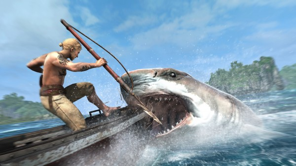 AC4 black flag-caribbean-sea-harpooning-shark-attack