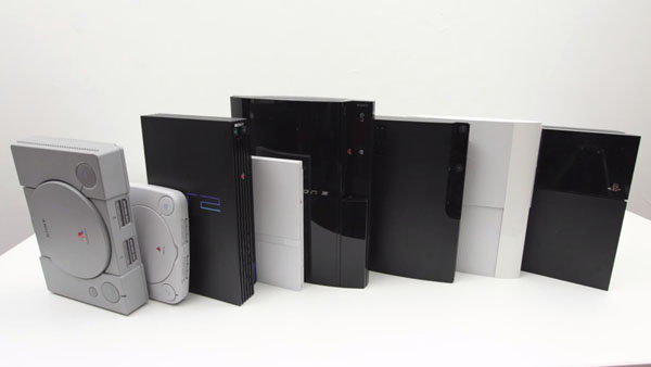 the evolution of sony playstation Isometric technical illustrations showing the evolution of the sony playstation console.