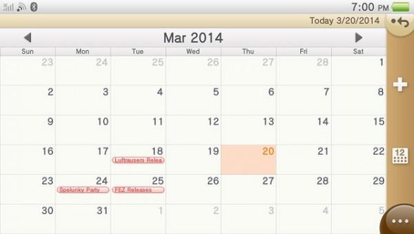 PS Vita calendar