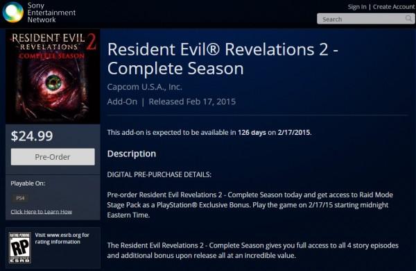 Resident Evil Revelations 2 date