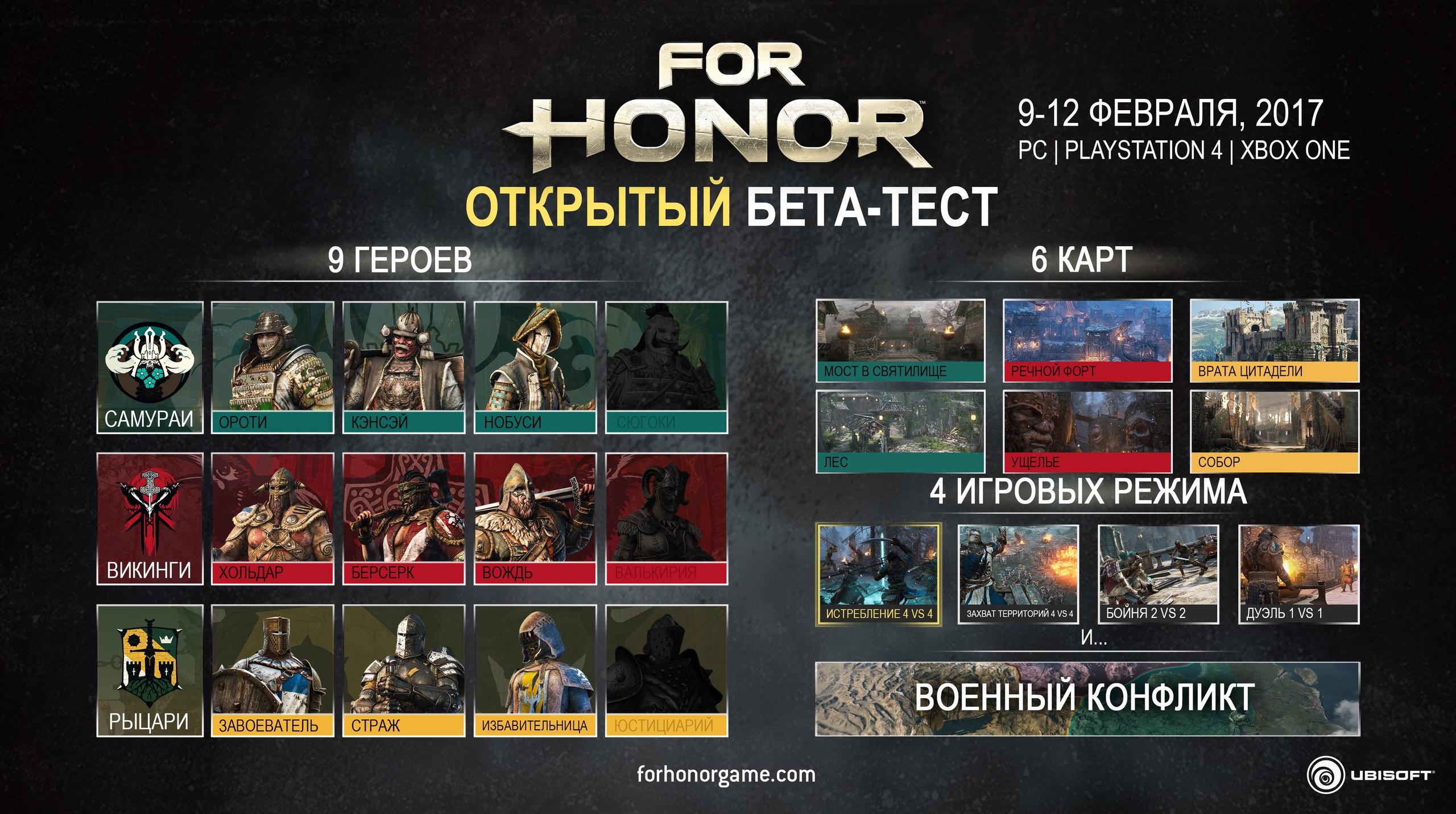 Всеть утекли даты открытого бета-тестирования игры For Honor